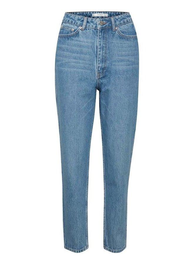 Gestuz Dena HW mom jeans Washed Mid Blue