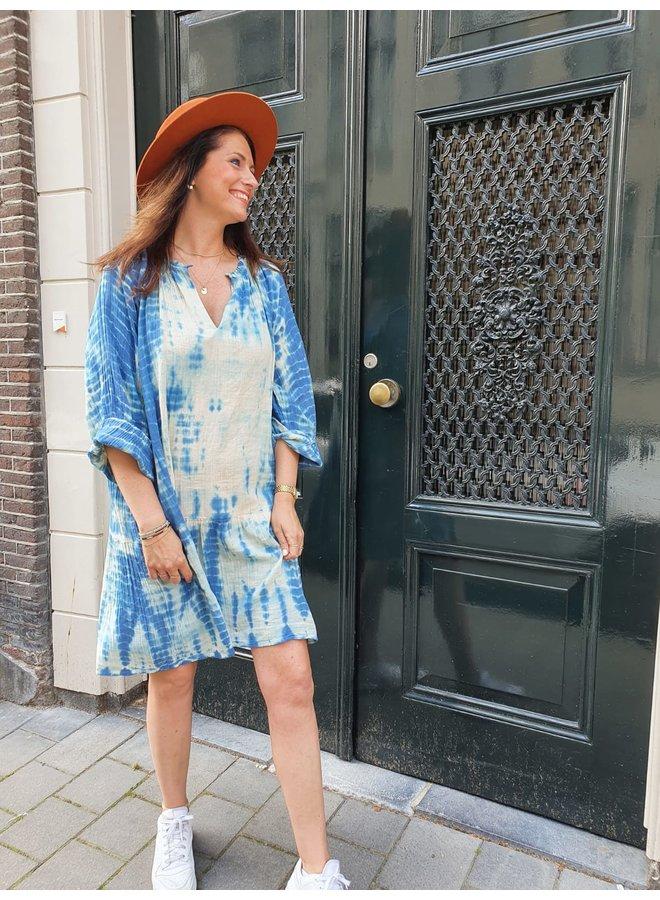 Sissel Edelbo Manila Organic Cotton Short Tie Dye Dress - Blue