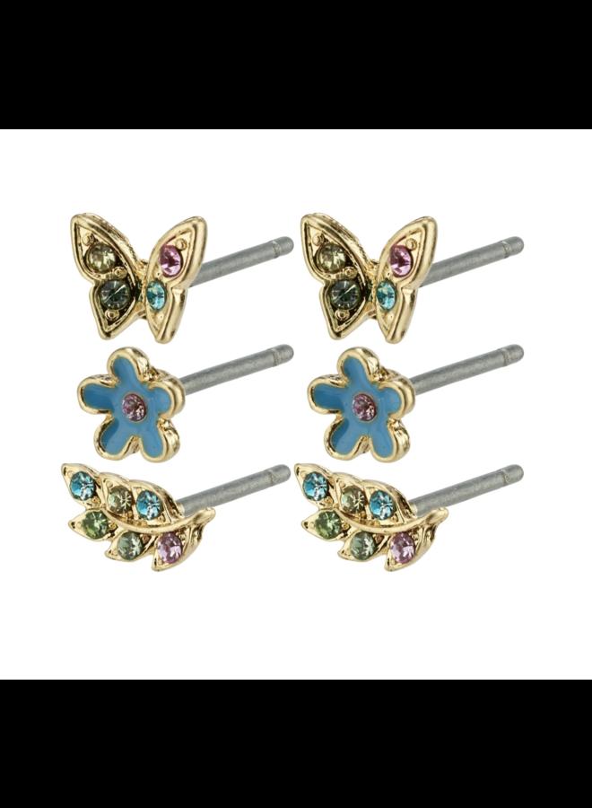 Pilgrim Mira Earrings Gold Plated Blue