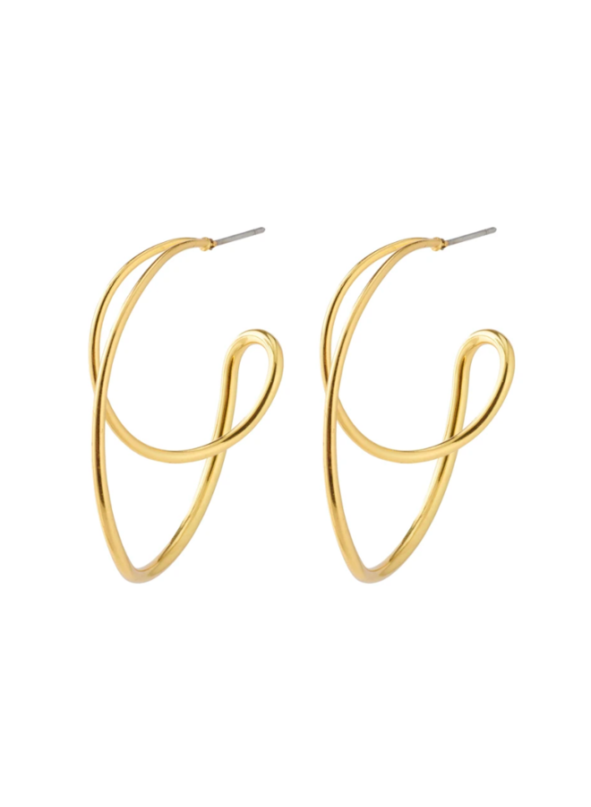 Pilgrim Miller Graphic Statement Earrings Gold Plated