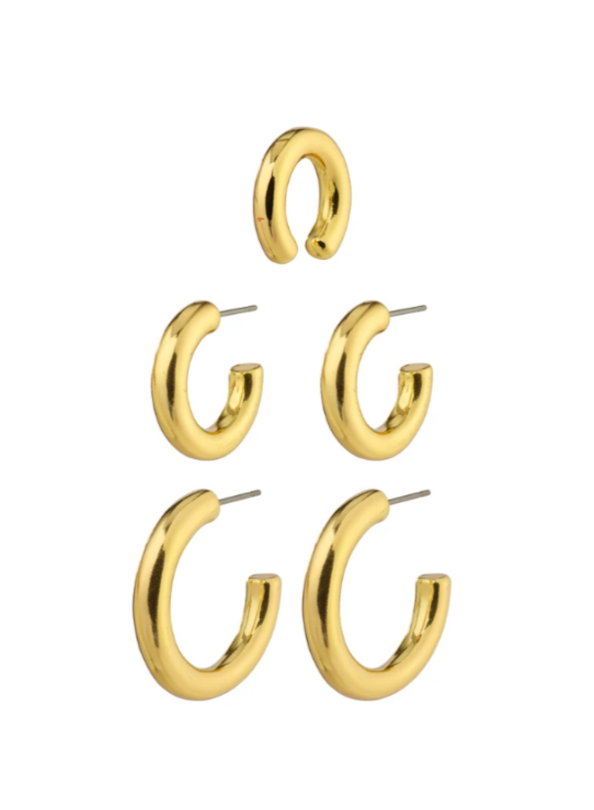 Pilgrim Reconnect Chunky Hoops & Ear Cuff, 3-in-1-set Gold Plated