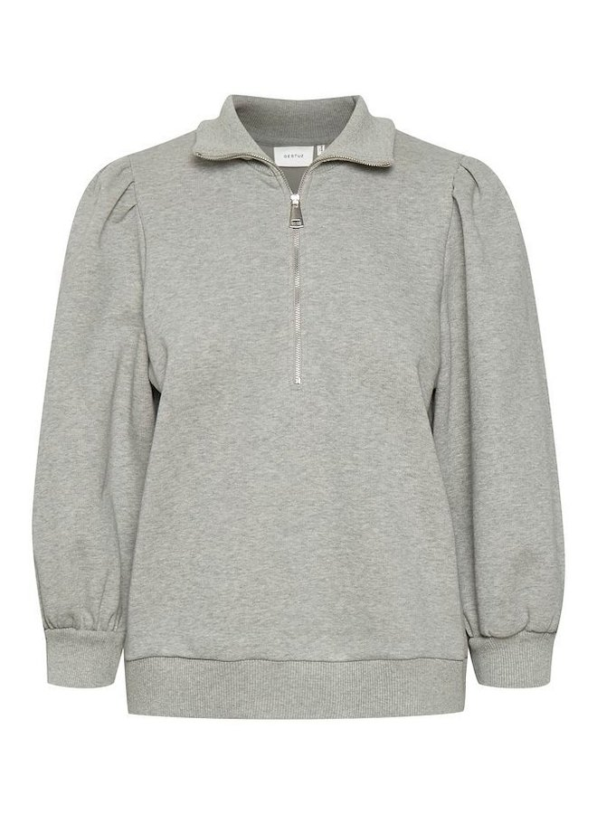 Gestuz Nankita Zipper Sweatshirt Light Grey Melange