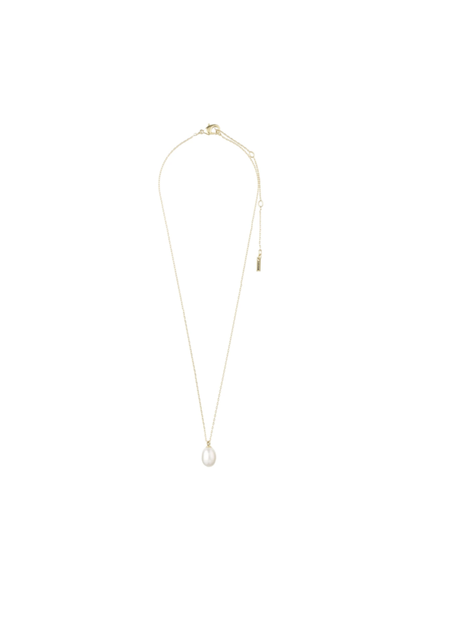 Pilgrim necklace eila Gold plated white