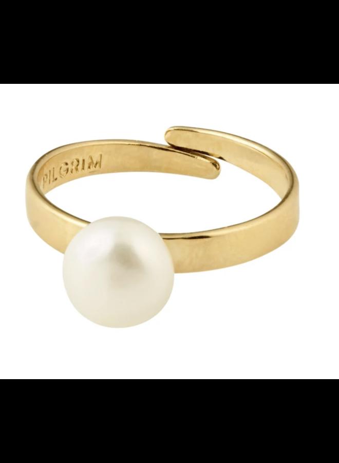 Pilgrim Kenia freshwater pearl ring gold plated