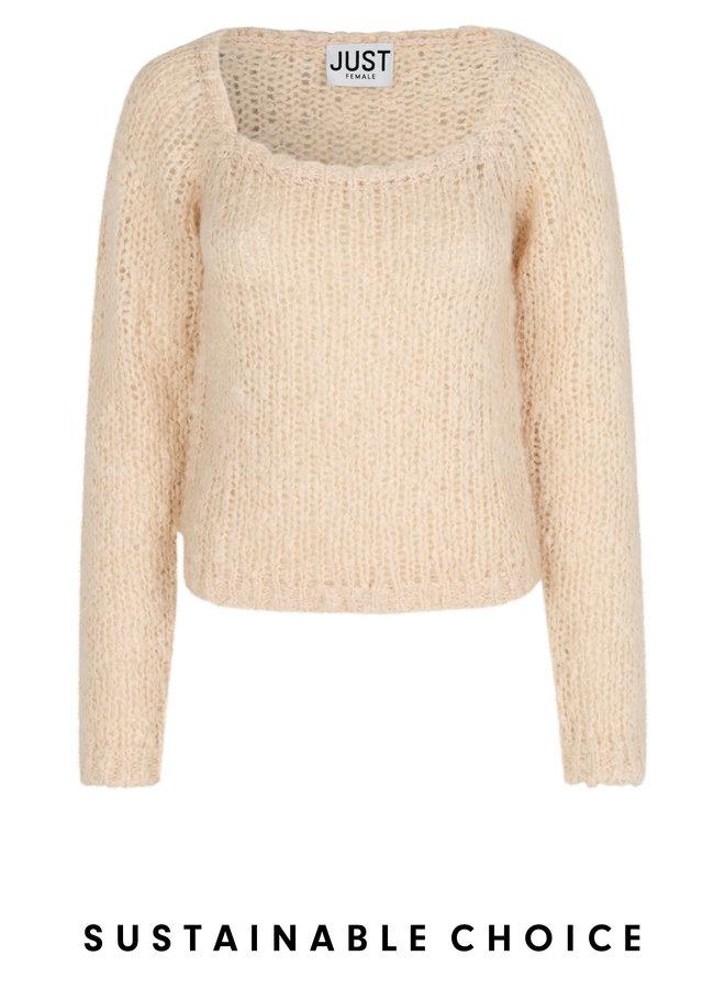 Just Female Erida Knit Blouse Buttercream