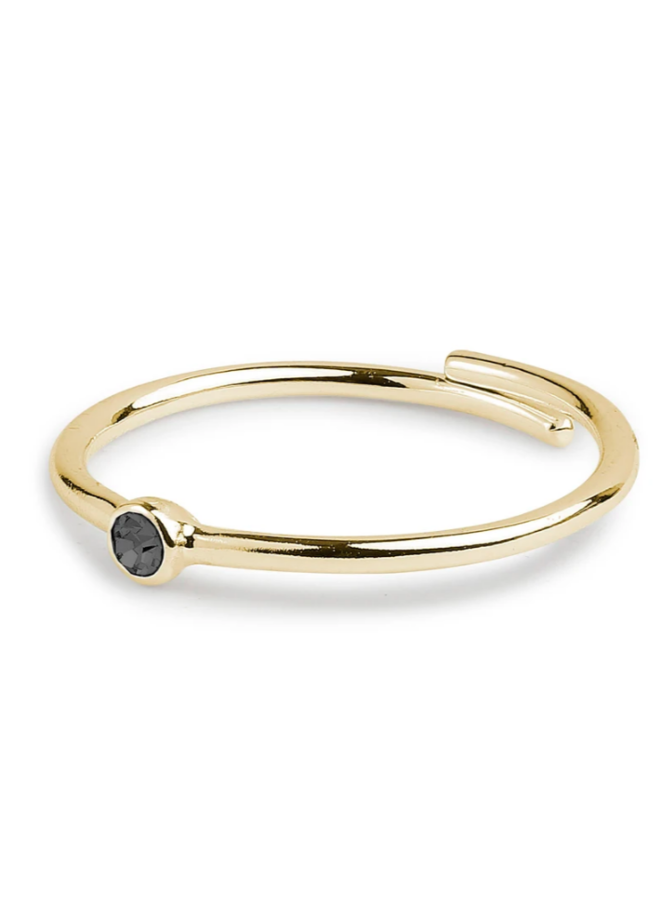 Pilgrim Lulu Ring Gold Plated Black