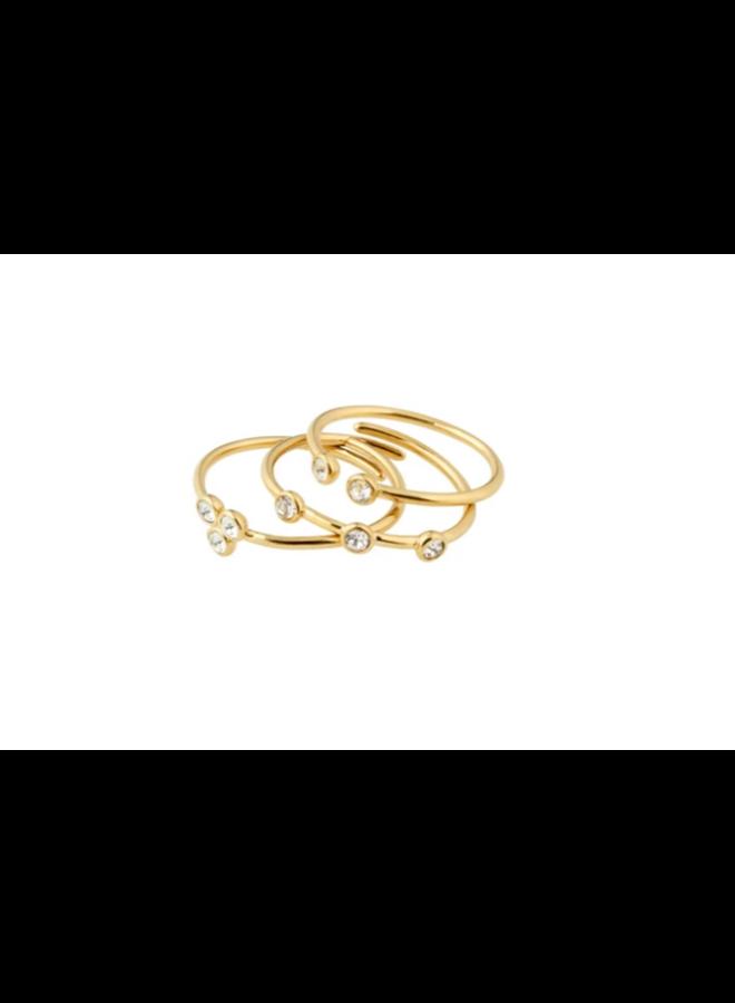 Pilgrim Kamari Stackable Crystal Rings 3 in 1 gold plated
