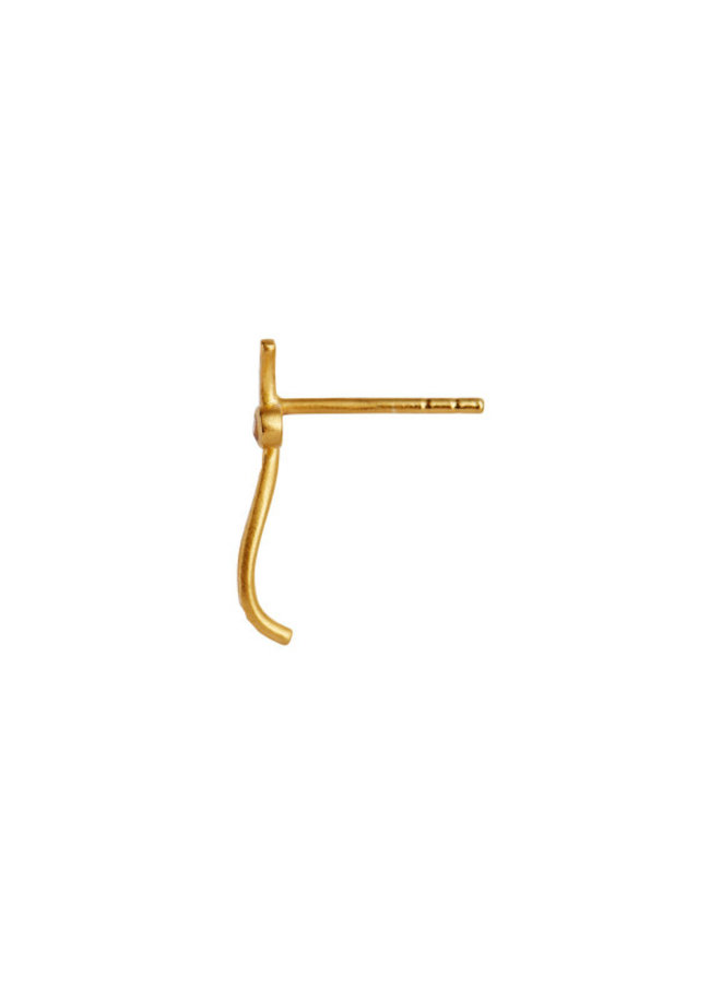 Stine A: Petit Dot Wave Earring Gold With Champagne Stone