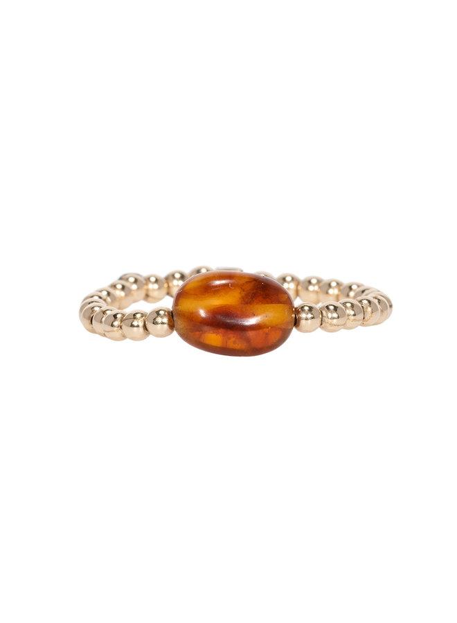 Miab ring goud - Amber