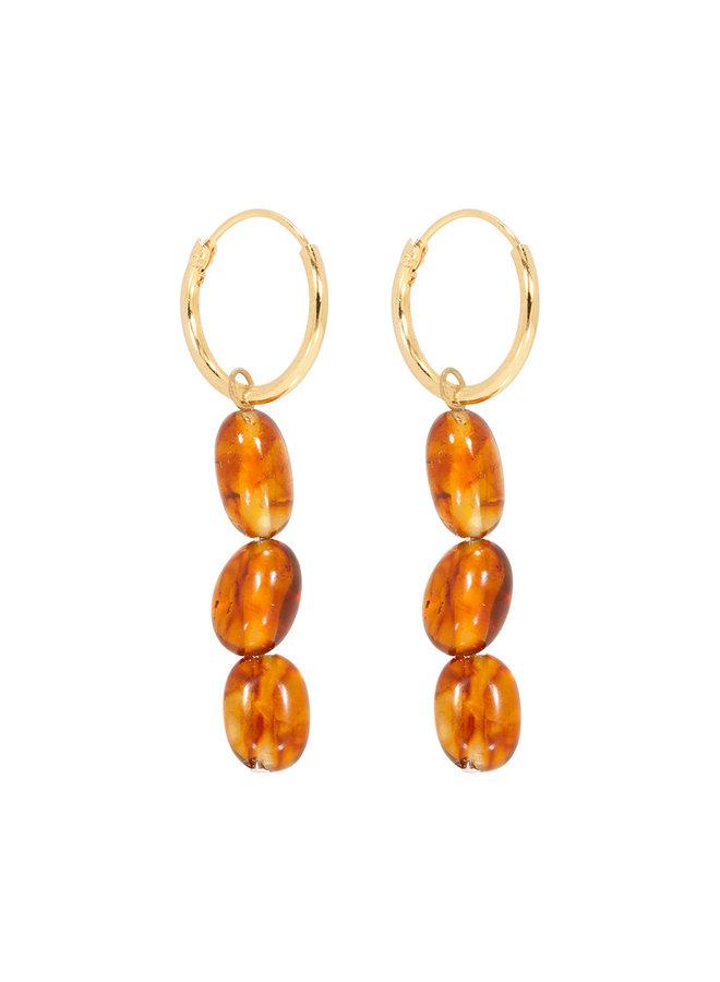 Miab oorbellen goud - Threesome Amber