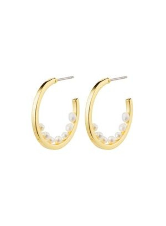 Pilgrim Esther Freshwater Pearls Semi Hoops Gold Plated