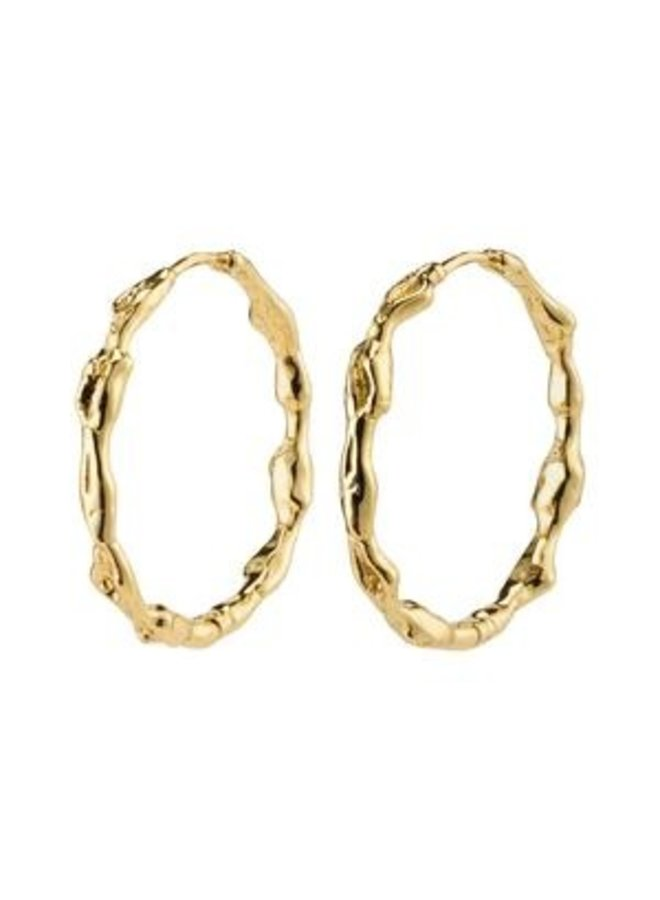 Pilgrim Zion Organic Shaped Large Hoops Gold Plated
