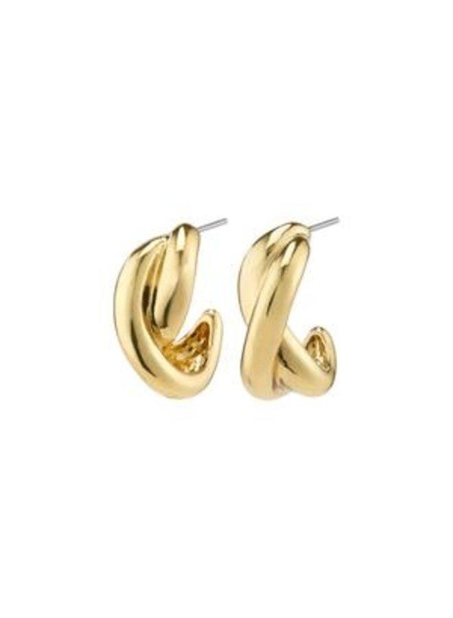 Pilgrim Belief Chunky Twist Semi-Hoops Gold Plated