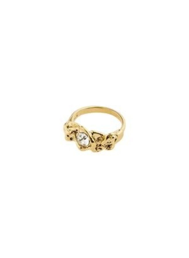 Pilgrim Belief Organic Shaped Crystal Ring Gold Plated