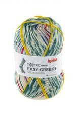 Katia Katia Easy Greeks Socks 75 - Groenblauw-Rood-Olij