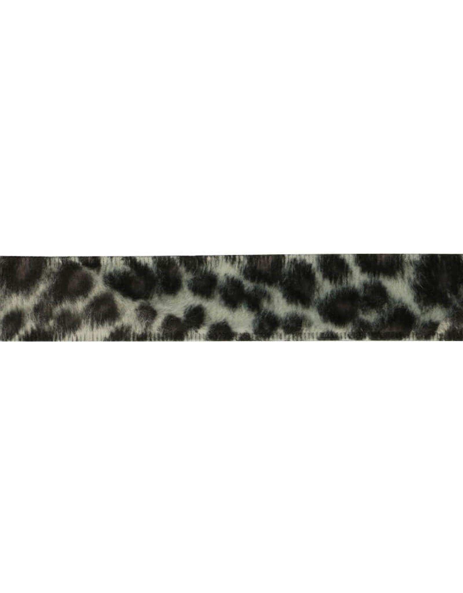 Band dierenprint 25 mm  wit/grijs