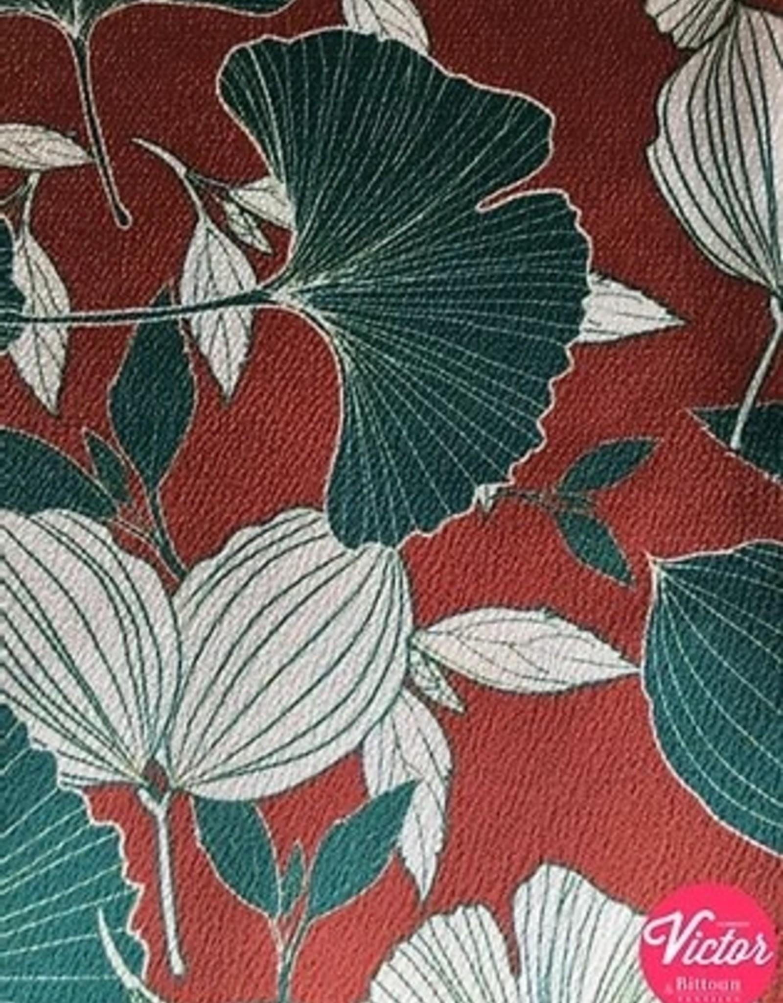 Bittoun Bittoun rood met groene en grijze  bloemen