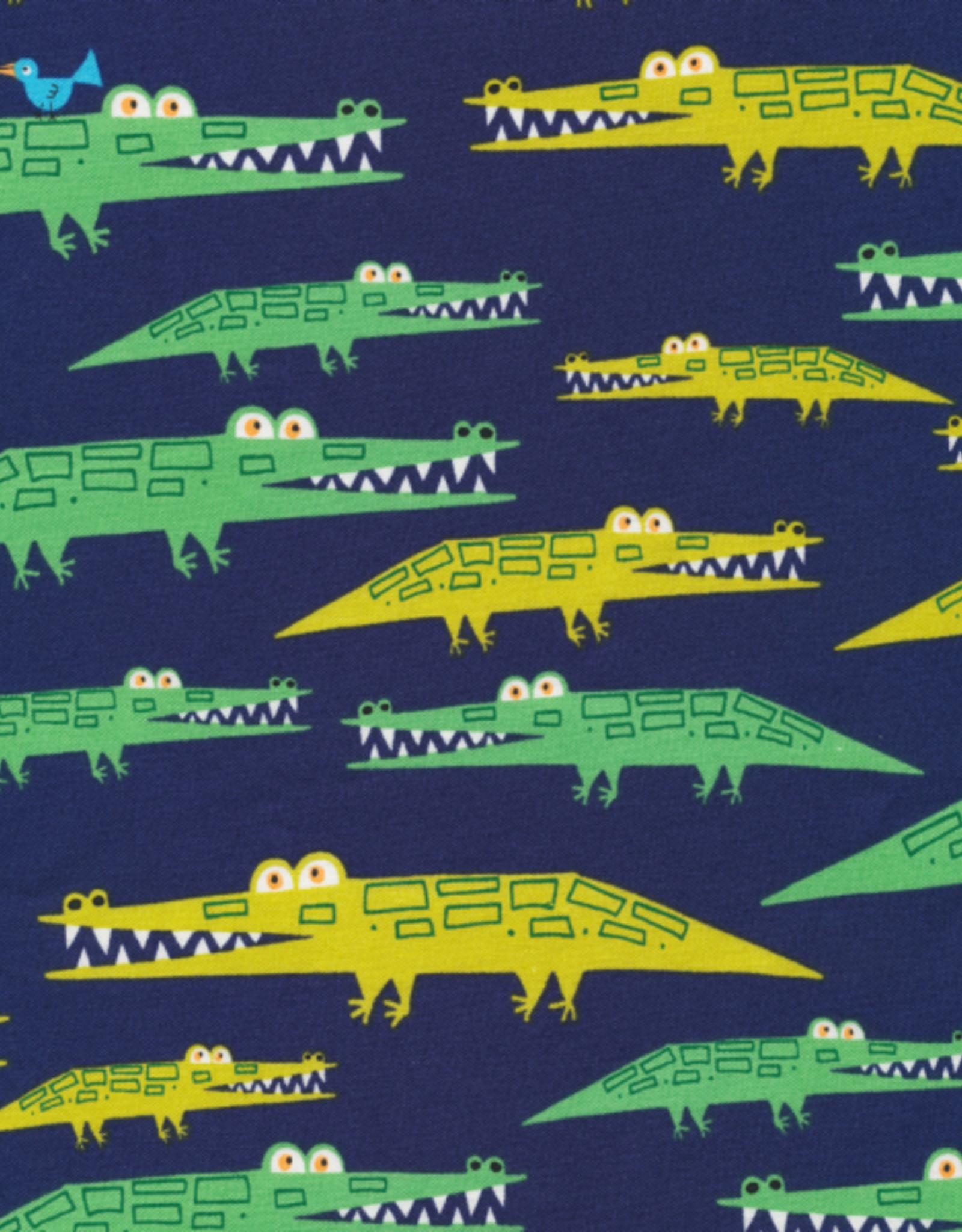 Cloud 9 katoen gelamineerd blauw met krokodillen