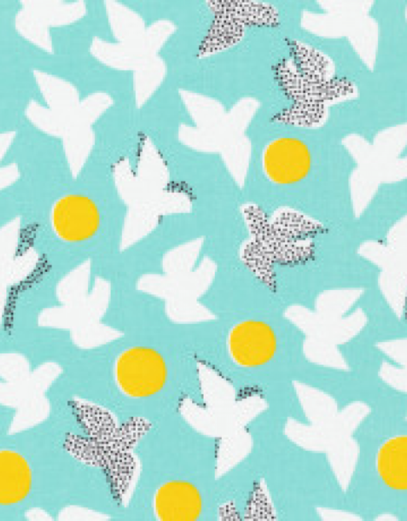 Cloud 9 Katoen Glint turqoise vogels