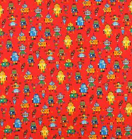 Ribfluweel robot rood