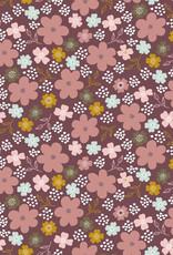 Poppy Poppy Jersey Flowers and Hearts  GOTS roze