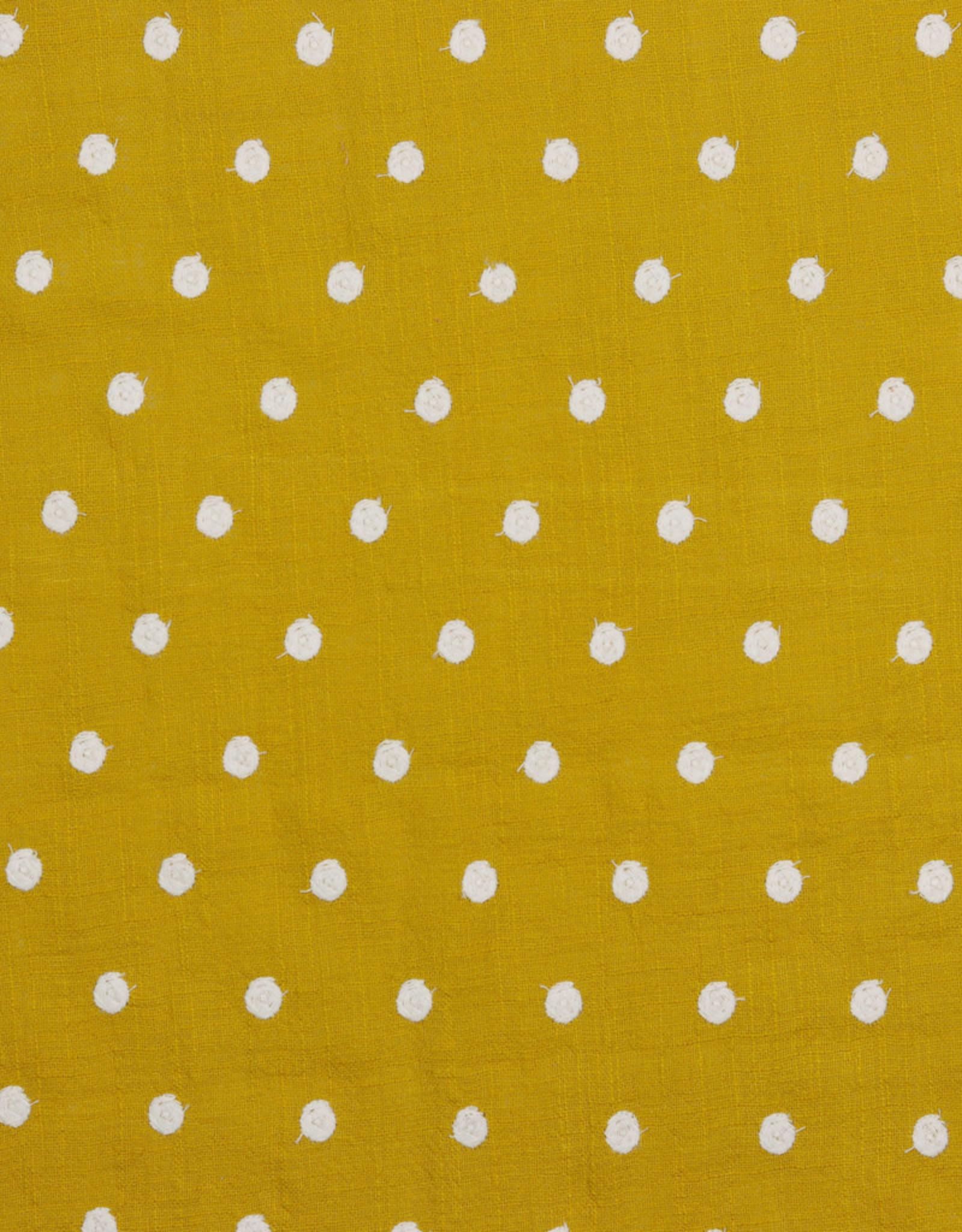Poppy Poppy Cotton Slub Embroidery oker met witte stippen
