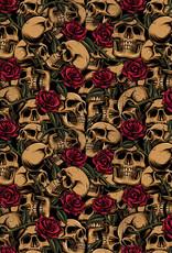 Poppy Poppy katoen skulls met rozen