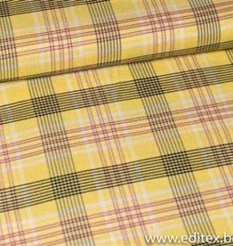 Fibre Mood Fibre Mood ruitjes stof geel, roze , zwart