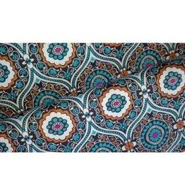 Editex Fabrics Editex Canvas donkerblauw met blauw, wit, roos en oranje