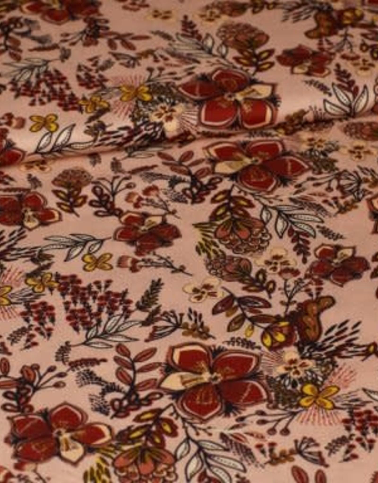 Editex Fabrics Editex viscose bloemen roze