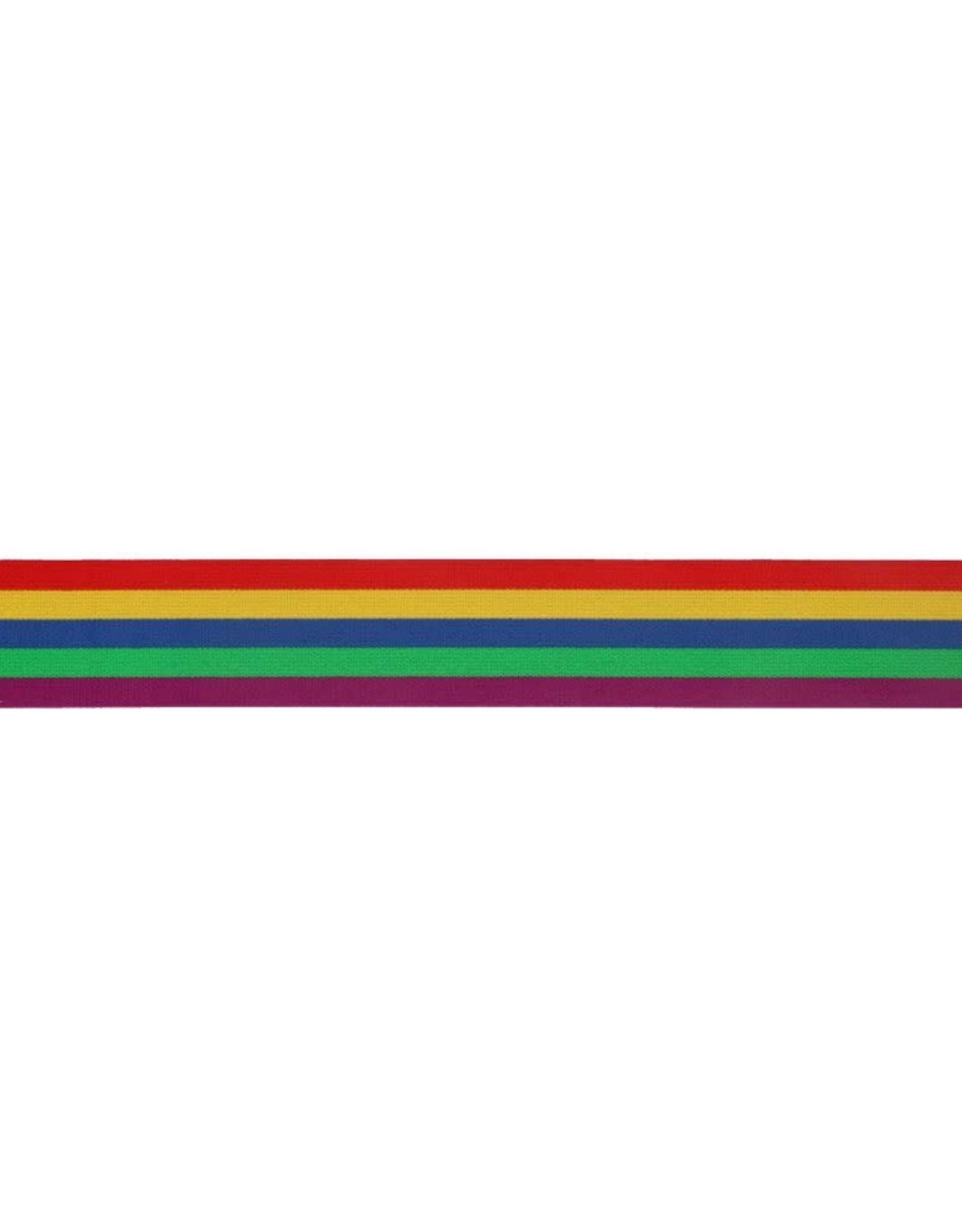 Elastiek gestreept regenboog 32mm
