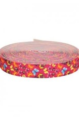 Gekleurde elastiek 25mm roze met vlinders