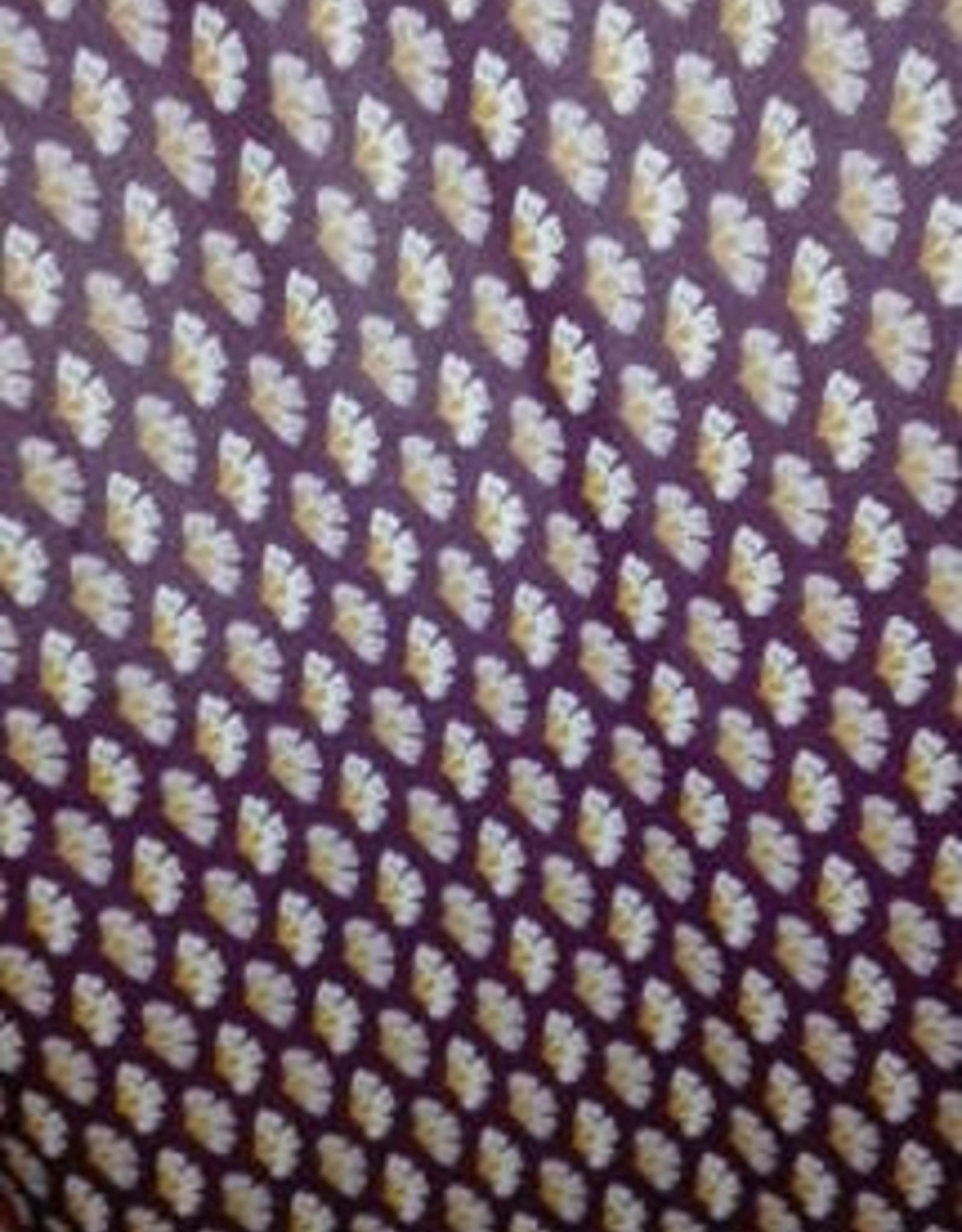 Gelamineerd katoen bruin//oker/ecru met bloempjes