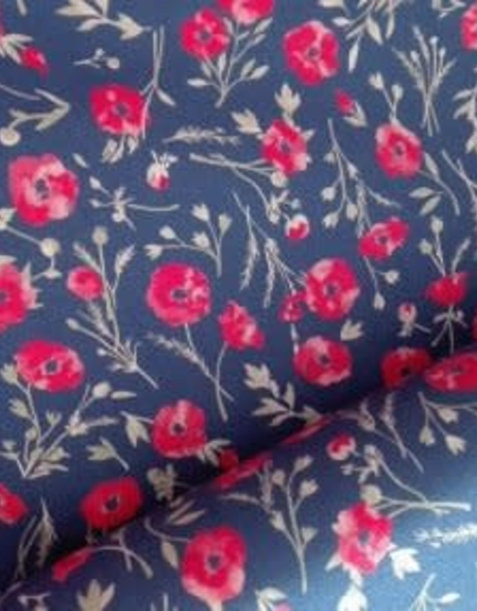 Polytex Polytex Katoen bloempjes blauw - rood