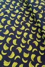 Polytex Polytex Katoen donkerblauw met gele bananen