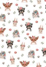 Poppy Poppy jersey Woodland animals GOTS wit