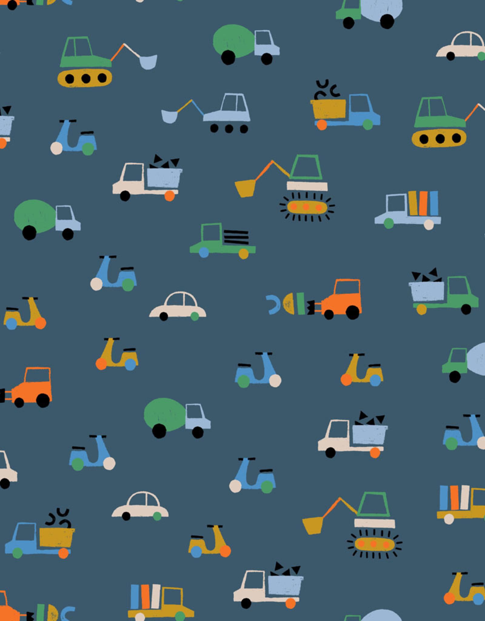 Jersey Traffic  blauw met voertuigen GOTS