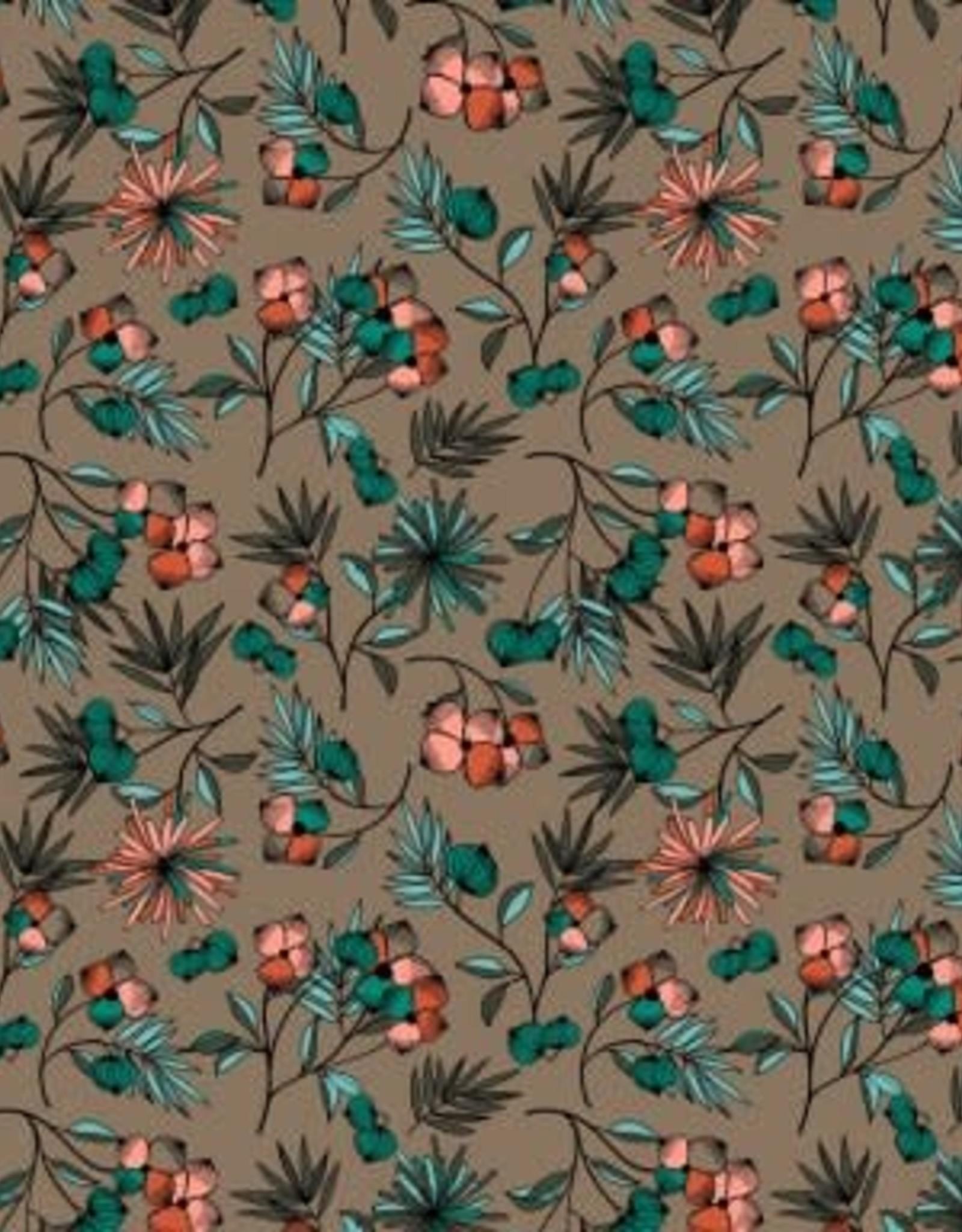 Poppy Poppy Jersey modal Mix of flowers beige met kleurrijke bloempjes