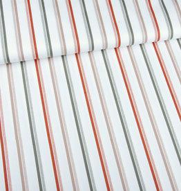 Editex Fabrics Editex Signature katoen ecru met kaki. koper en bruinige strepen