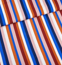 Editex Fabrics Editex Signature viscose strepen ecru. roze. blauw. bruin