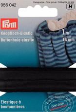 Prym Prym Knoopsgatenelastiek 18 mm zwart 1m  op kaartje