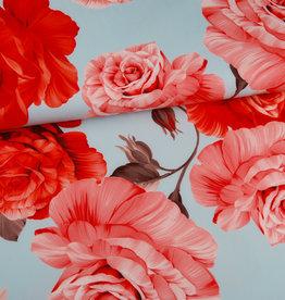 Editex Fabrics Editex Signature lichtblauw met grote bloemen