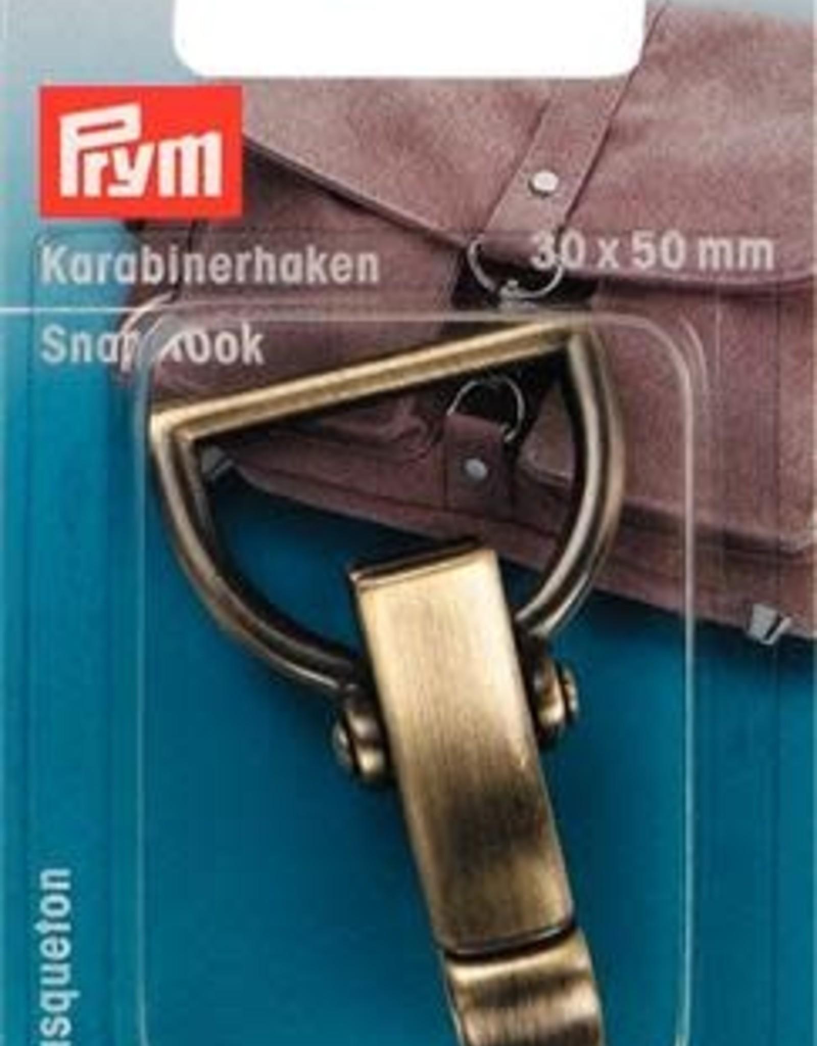 Prym Prym KARABIJNHAAK 30x50mm OUDMESSING GEBORSTELD