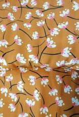 Editex Fabrics Editex Signature Viscose Oker met ecru bloempjes