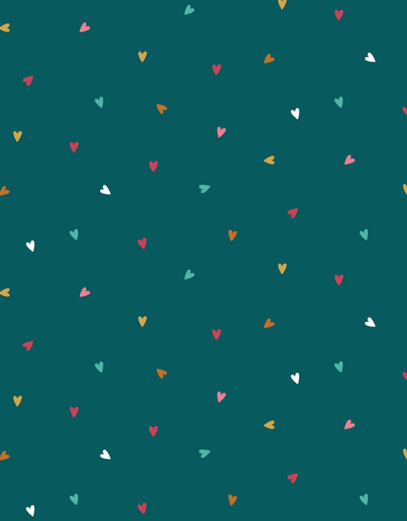 Poppy Poppy katoen hearts blauw/ groen