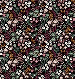 Poppy Poppy Katoen Brushed flowers zwart met kleuren