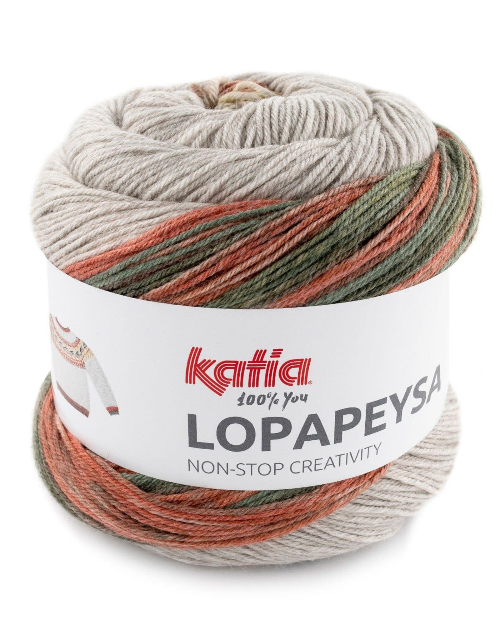Katia Katia Lopapeysa  101 - Roestbruin-Geelgroen-Groen