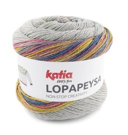 Katia Katia Lopapeysa  200 - Medium bleekrood-Turquoise-Geelgroen
