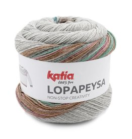 Katia Katia Lopapeysa  201 - Medium bleekrood-Groenblauw