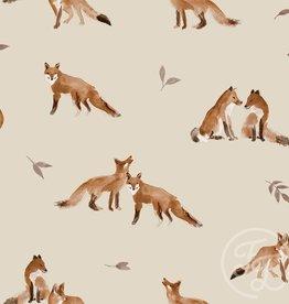 Family Fabrics Family Fabrics French Terry  Fox Grey Leaves
